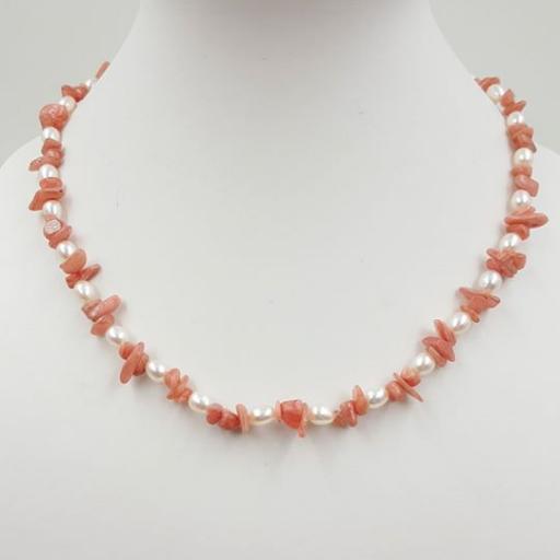 红纹石+珍珠项链