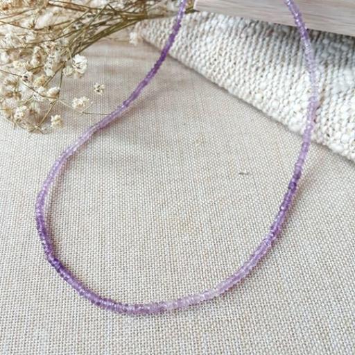 3mm 紫水晶切面项链