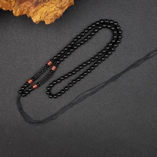 6mm 绳(黑)+黑玛瑙 + 木配件项链