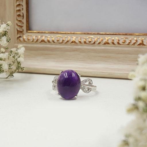 紫水晶纯银戒指