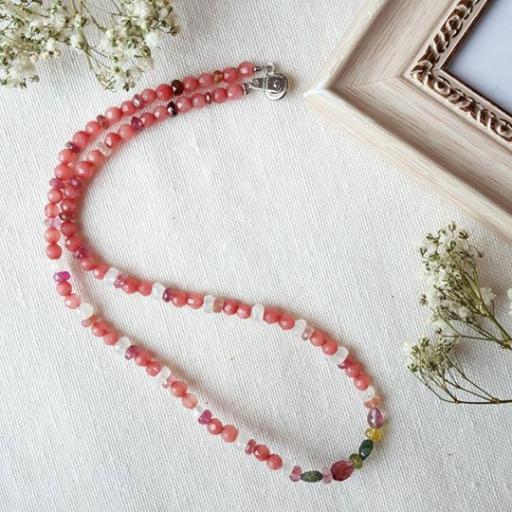 红宝黝帘石+月光石+彩碧玺项链