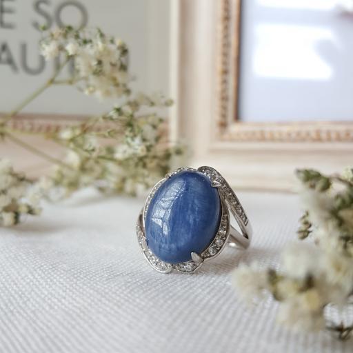 蓝晶石纯银戒指