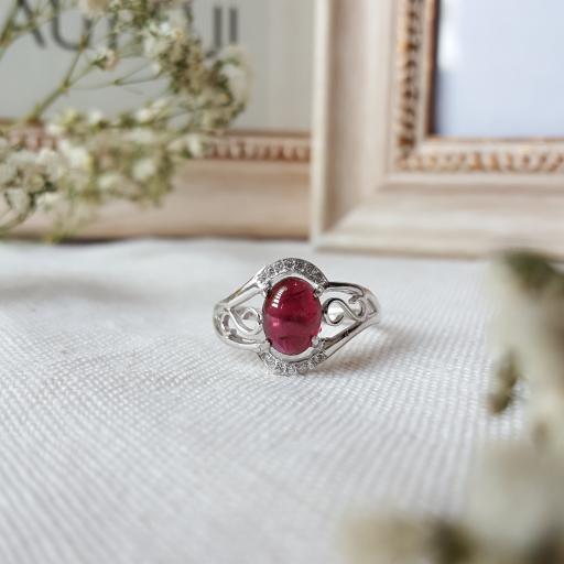 红石榴纯银戒指