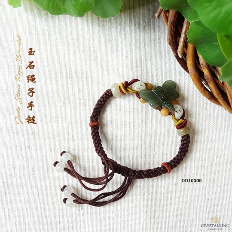 绳雕刻玉石蜻蜓手链