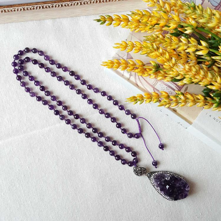 乌拉圭紫水晶原矿项链