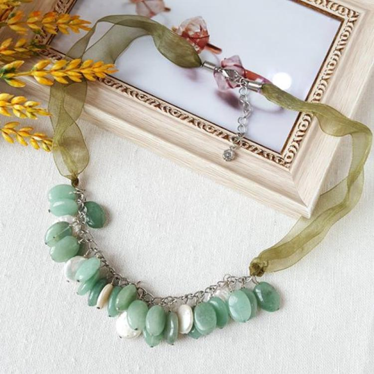东陵玉塔配珍珠项链