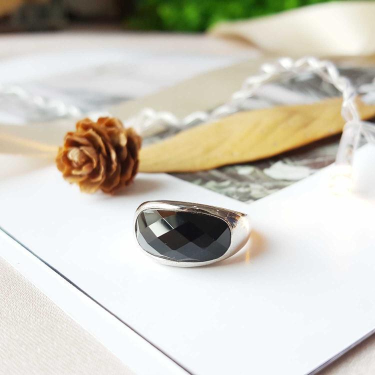 黑玛瑙切面戒指