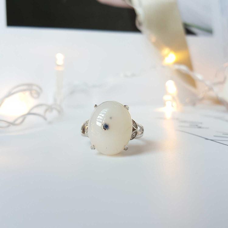 树枝玛瑙纯银戒指