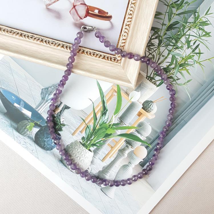 6mm 切面紫水晶项链