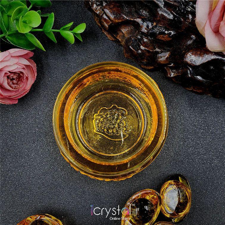 黄琉璃聚宝盆+琉璃元宝摆件