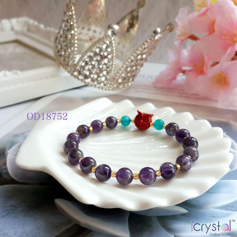 8mm 紫水晶手链搭配猫头鹰
