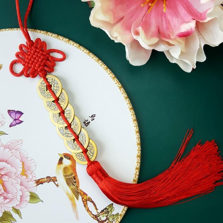 六帝铜钱-红结吊饰