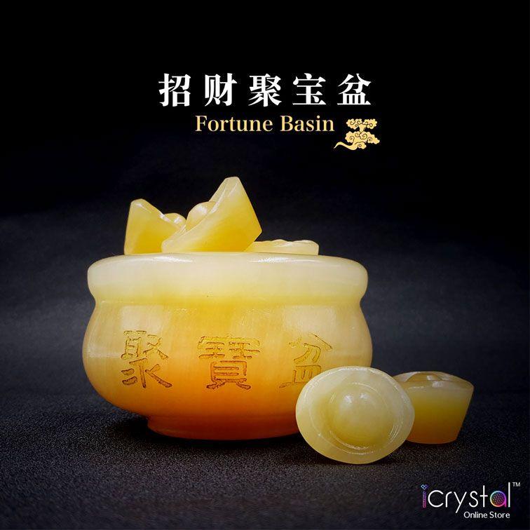 黄玉聚宝盆+黄玉元宝摆件