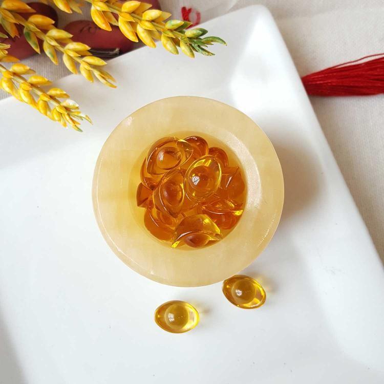黄玉聚宝盆 + 琉璃小元宝摆件