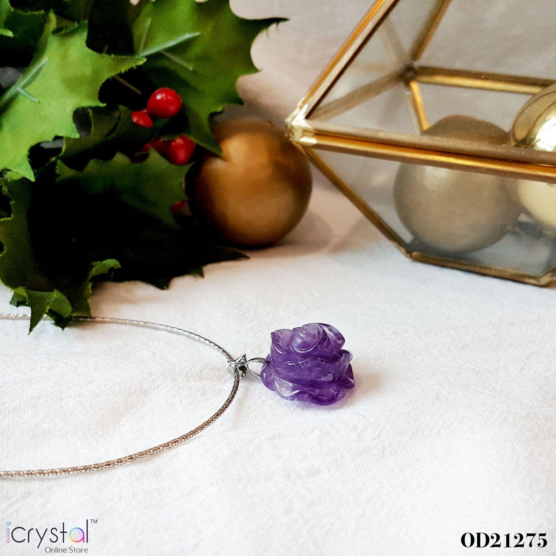 紫水晶玫瑰雕刻吊坠
