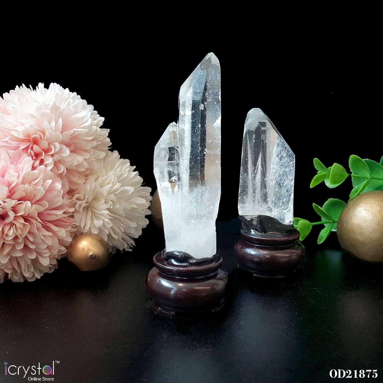 雷姆尼亚水晶搭配木座摆件