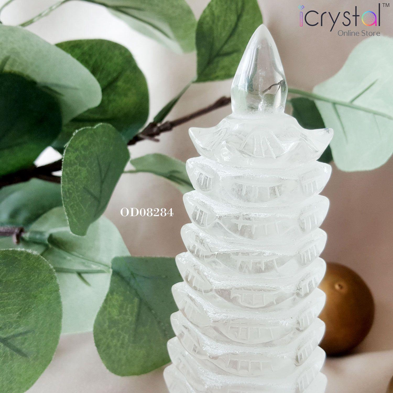 白水晶文昌塔雕刻品