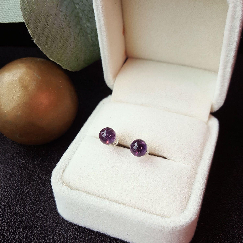 6mm 紫水晶圆形耳环