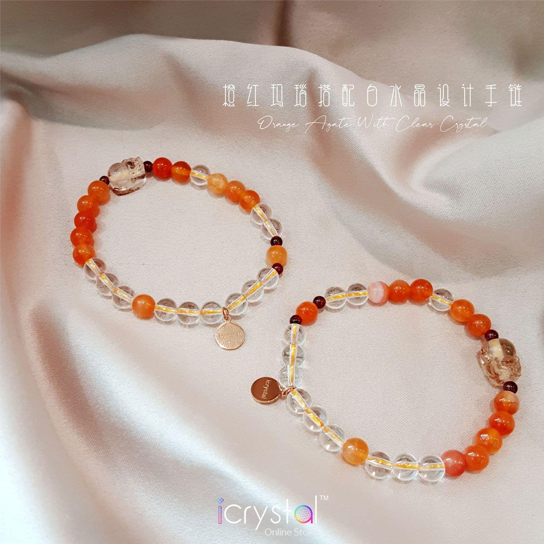 6mm 橙红玛瑙搭配白水晶设计手链