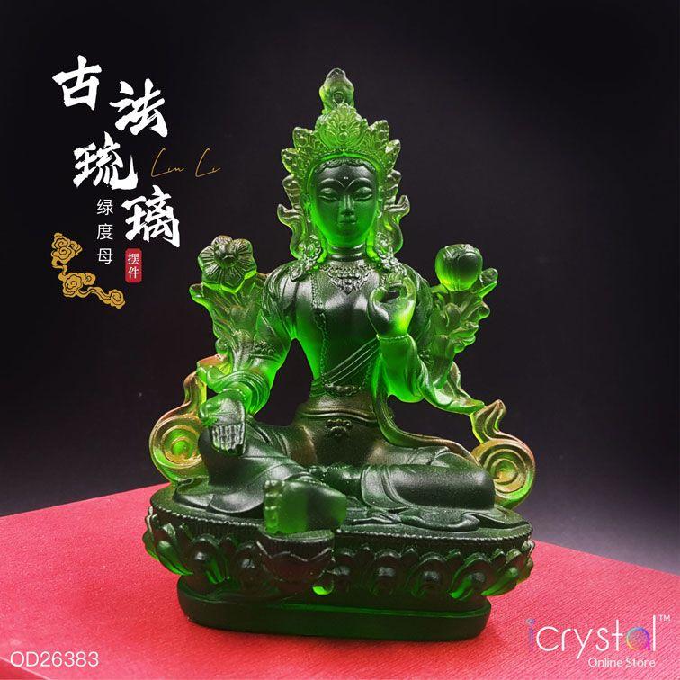 五喜财神绿镀母琉璃摆件