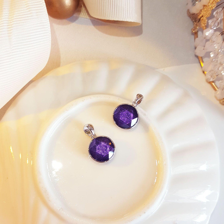 10mm 镍铁陨石大卫星紫色吊坠