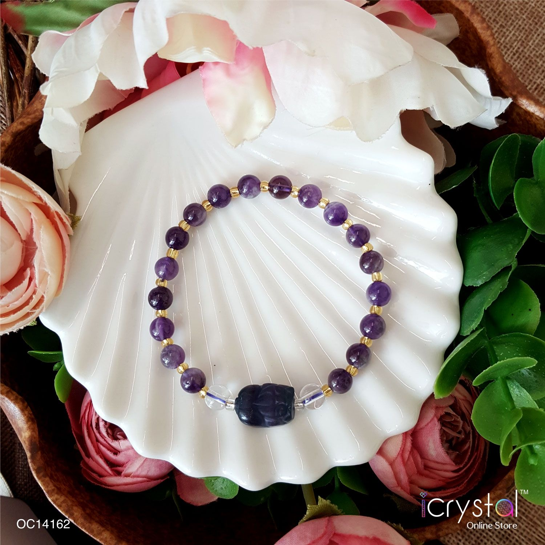 6mm 紫水晶手链搭配萤石貔貅配件