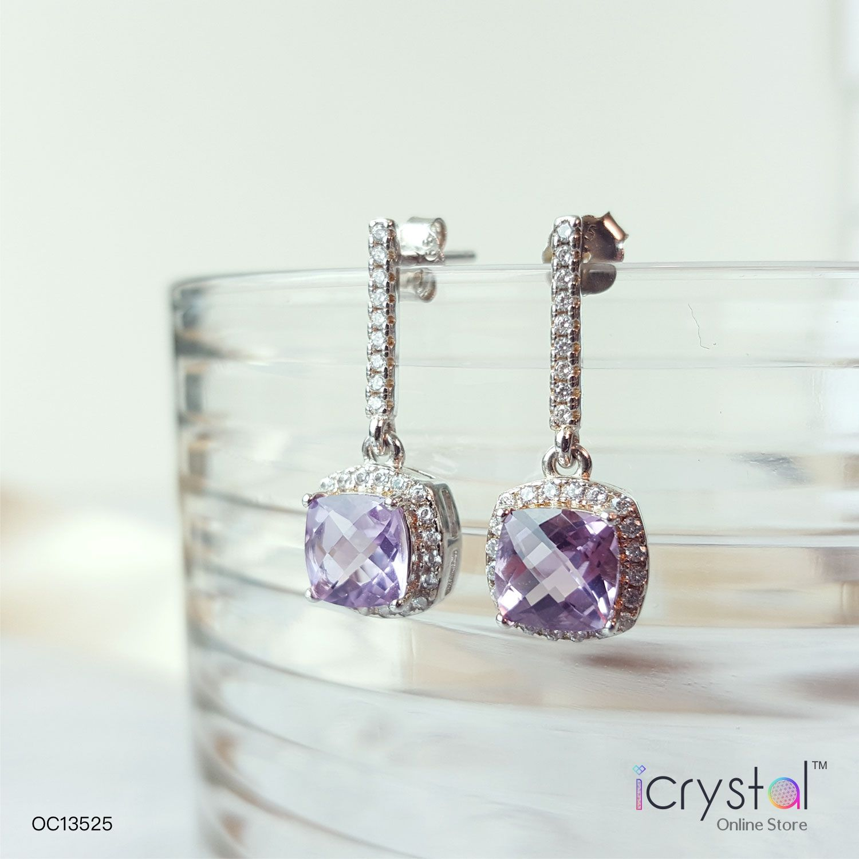 紫水晶四方带钻耳环